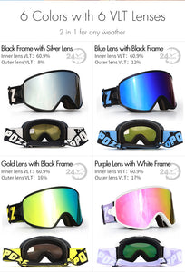 2 in 1  Night Skiing Anti-fog Snowboard Goggles