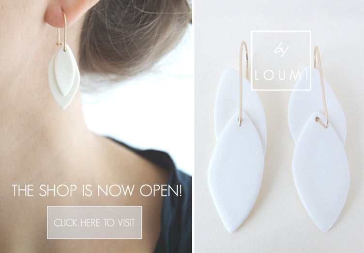 By Loumi shop on Etsy is open, porcelain earrings