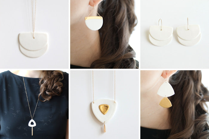 geometric porcelain jewellery collection, white necklaces and earrings decorated with fine gold