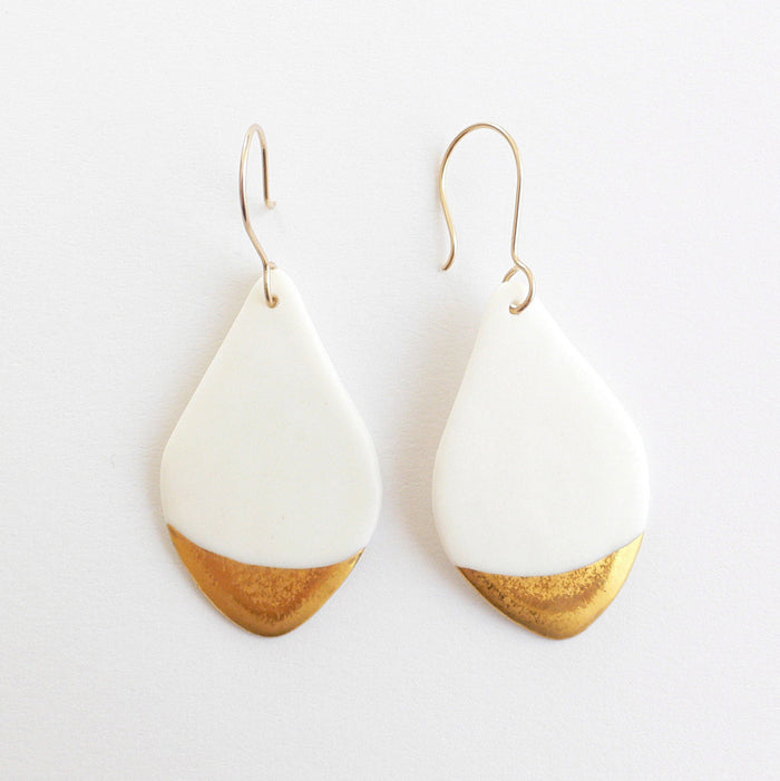 feather-shape porcelain earrings