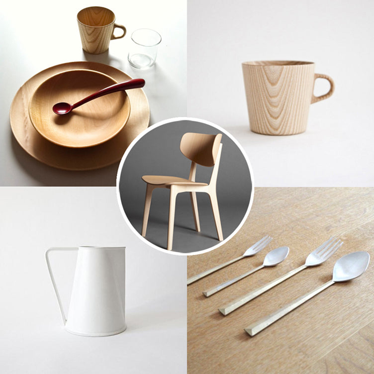 wooden and porcelain design objects