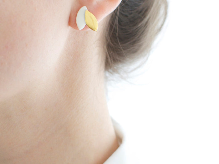 daintly leaf-shape porcelain earrings