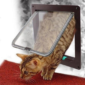 High quality Lockable Dog Cat Kitten Door Security Flap Door Controllable Access Openings Window Cat Dog Gate Door Pet Supplies