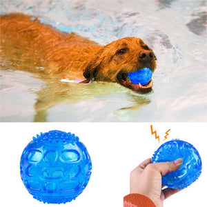 1/2Pcs Pet Training Chew Toys Rubber Float Squeaky Ball For Dog Cat Playing Ball Interactive Toys Dogs Cats Tooth Clean Ball Toy
