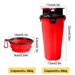 Portable 2 in 1 Pet Food Water Food Container With 2 Folding Silicone Pet Bowls Outdoor Travel Dog Feeder Cup