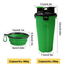 Load image into Gallery viewer, Portable 2 in 1 Pet Food Water Food Container With 2 Folding Silicone Pet Bowls Outdoor Travel Dog Feeder Cup