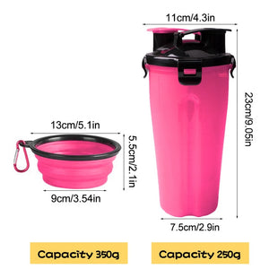 Outdoor Travel Folding Silicone Bowl For Dog Cat Feeder Cup Folding Dog Bowl 2 In 1 Pet Water Bottle Food Container Bowl