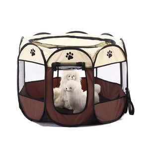 Portable Folding Pet Dog Tent Dog House Cage Dog Cat Tent Playpen Puppy Kennel Easy Operation Octagonal Fence Outdoor Supplies