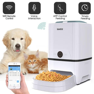 Iseebiz Automatic Cat Dog Feeder with WiFi Pet Food Dispenser  6 Meals Voice Recorder and Timer Programmable Portion Control