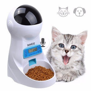 Isseebiz Automatic Pet Feeder Dogs Cats Food Dispenser with Voice Record Remind Timer Programmable Distribution Alarm IR Detect