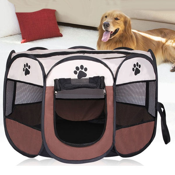 Dog Kennel Pet Tent Portable Folding Pet tent Dog House Cage Dog Cat Tent Playpen Puppy Kennel Easy Operation Octagon Fence