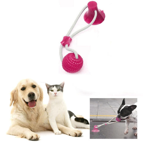 Dog Toy Suction Cup Cats Dogs Pet Molar Bite Ball Toy Interactive Fun Pet Rope Chew Tooth Cleaning Chewing Playing Puppy Toys