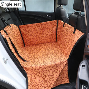 Dog Car Back Seat Carrier Waterproof Pet Mat Hammock Cushion  Carriers Oxford Fabric Paw Pattern Car Pet Seat Cover