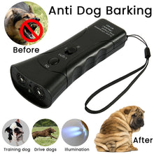 Load image into Gallery viewer, Ultrasonic Dog Chaser Aggressive Attack Repeller Trainer LED Flashlight Training Repeller Control Anti Bark Barking Dog Treats