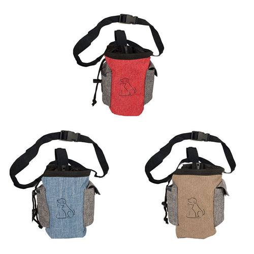 Durable Dog Treat Pouch Pet Hands Free Training Waist Bag Drawstring Carries Lovely Dogs Patterns