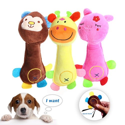 Pet Dog Plush Chew Squeak Sound Rope Ball Toys Dogs Chew Teeth Clean Outdoor Training Fun Playing Toy For Small Large Dog