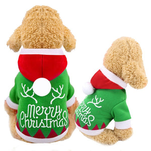 Pet Dog Coat Coral Hoodie For Dogs Christmas Letters Printed Hooded Warm Tops For Winter