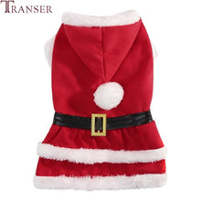 Load image into Gallery viewer, Transer Warm Dog Clothes Christmas Santa Claus Pet Dog Costume Hoody Dog Coat Black Belt Dog Apparel Puppy outwear 9828