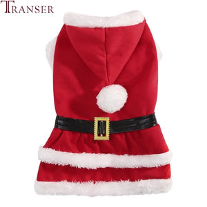 Transer Warm Dog Clothes Christmas Santa Claus Pet Dog Costume Hoody Dog Coat Black Belt Dog Apparel Puppy outwear 9828