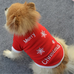 Christmas Cat Dog Clothes Christmas Pet Puppy Autumn Winter Warm Pullover High-grade Embroidered Clothes