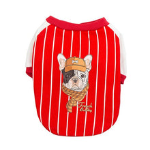 Load image into Gallery viewer, Transer Dog Clothes Striped Sports Baseball Uniform French Bulldog Dog Jacket Pet Coat Autumn Spring Winter Pet Apparel 9828