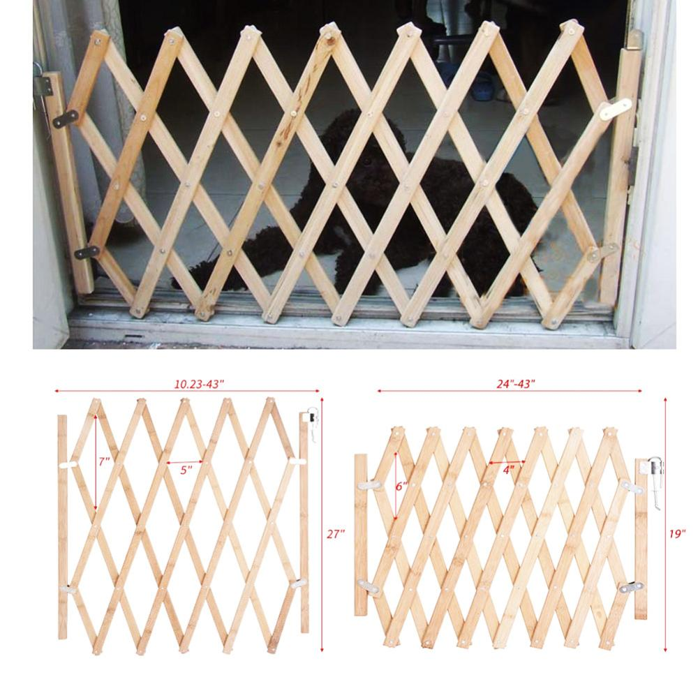New Arrival Folding Cat Pet Dog Barrier Wooden Safety Gate Expanding Swing Puppy Fence Door Simple Stretchable Wooden Fence