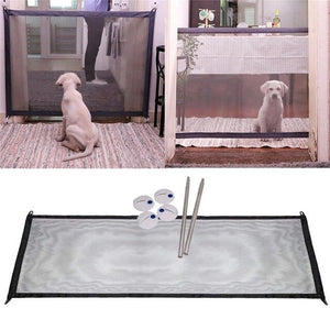 Magic Gate Portable Folding Safety Guard For Pets Dog Cat Isolated Gauze 110cm x 75cm