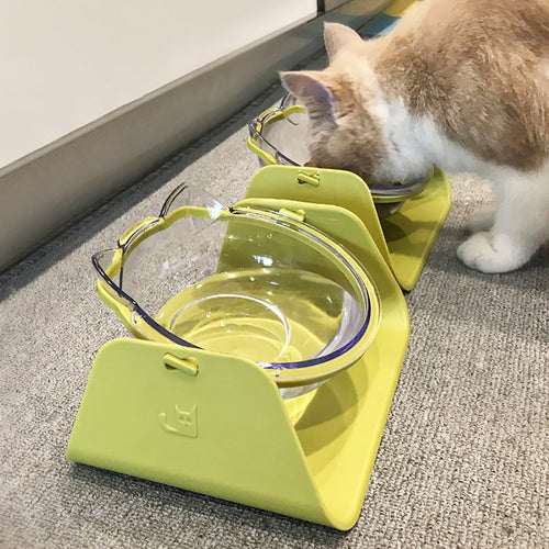 Pet Feeder Bowl For Dog Feeding Food Cat Dog Dish Feeders Tableware Dog Cat Food Water Bowl 15 Degree Adjustable 1pc