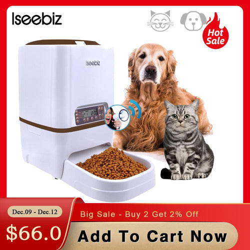 Iseebiz Automatic Pet Feeder 6L Dog Cat Feeder with Voice Recording LCD Screen Bowls For Food Dispenser 4 times in 1 Day