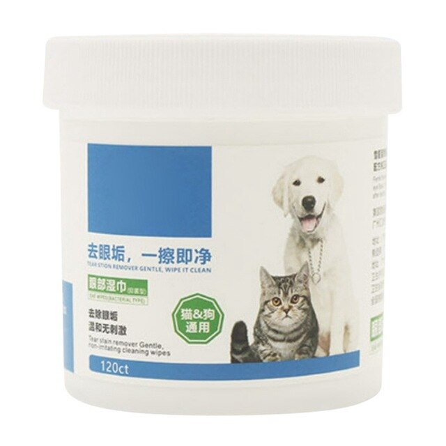 Clean Disinfection Dogs Grooming Wipes Wet Tissue Grooming Pet Wipes for Dogs Cats Other Pets to Clean the Tear Stains 120pcs