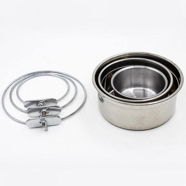 Stainless Steel Hanging Pet Bowl on Cages Single Accessory for Dogs Feeding & watering Supplies S M L sizes