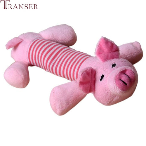 Transer Pet Supply Soft Plush Animal Pink Pig Dog Sound Chew Toys For Small Large Dogs Outdoor Fun 80224