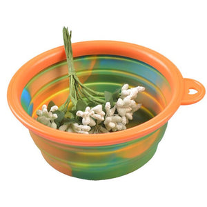 Camouflage Pet Silicone Bowl Collapsible Portable Folding Travel Dogs Cats Food Water Supply Drop Shipping