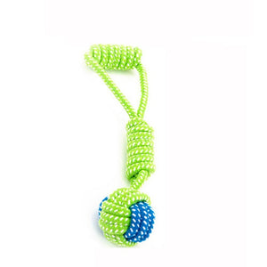 Transer Pet Supply Dog Toys Dogs Chew Teeth Clean Outdoor Traning Fun Playing Green Rope Ball Toy For Large Small Dog Cat 71229