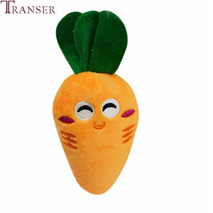 Transer Pet Supply Soft Fleece Smiling Carrot Cute Dog Chew Squeak Toys For Small Dog Puppy 71229
