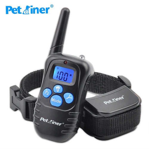 Petrainer 998DRB-1 300M Rechargeable And Waterproof Electric Shock Vibration Remote Control LCD Electric Pet Dog Training Collar