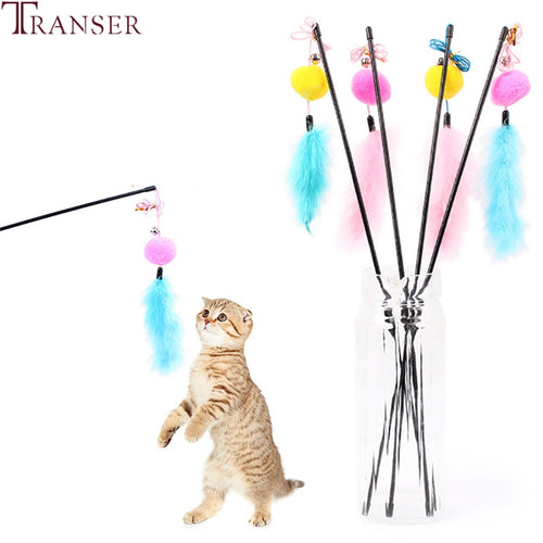 Transer Cheap Cat Toy Plush Ball Bell Interactive Toys with Feather For Cats Dog 80710