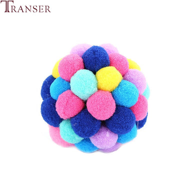 Drop Shipping Cat Toy Colorful Handmade Bouncy Ball Built-In Catnip Kitty Interactive Toys with Bells 80913