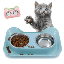 Load image into Gallery viewer, Double Dog Bowls for Pet Puppy Stainless Steel Food Water Non Spill Feeder Pet Cats Feeding Dishes Dogs Drink Bowl for pet cat