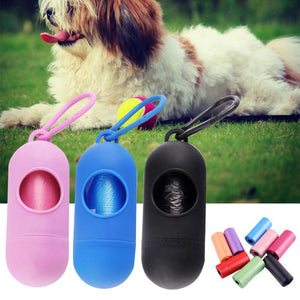Pet Dog Poop Bag Dispenser Waste Garbage Bags Carrier Holder Dispenser + Poop Bags 15pcs/Set Pet Dog Waste Poop Bag