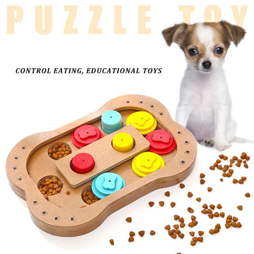 Dogs Puzzle Toys Bones Paw Wooden Dog Toy Eco-friendly Pet Toy Educational Pet Bone Paw Puzzle Toys