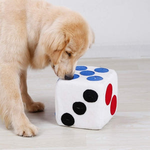Pet Dog Plush Dice Toy Food Dispenser Treat Puzzle Toy for Puppy Dog Intellegent Training Toy Food Leaking Playing Plush Dice