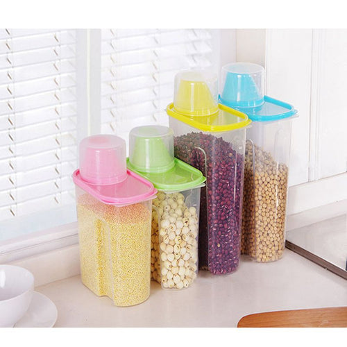 Portable Plastic Pets Dog Cat Food Storage Container Dry Food Dispenser Puppy Dog Feeder