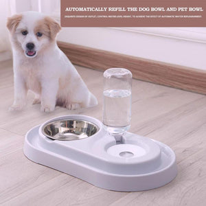 Creative Dual Port Dog Food Dish Bowl Automatic Water Dispenser Feeders Cat Drinking Pet Feeder Pet Drinking Fountain