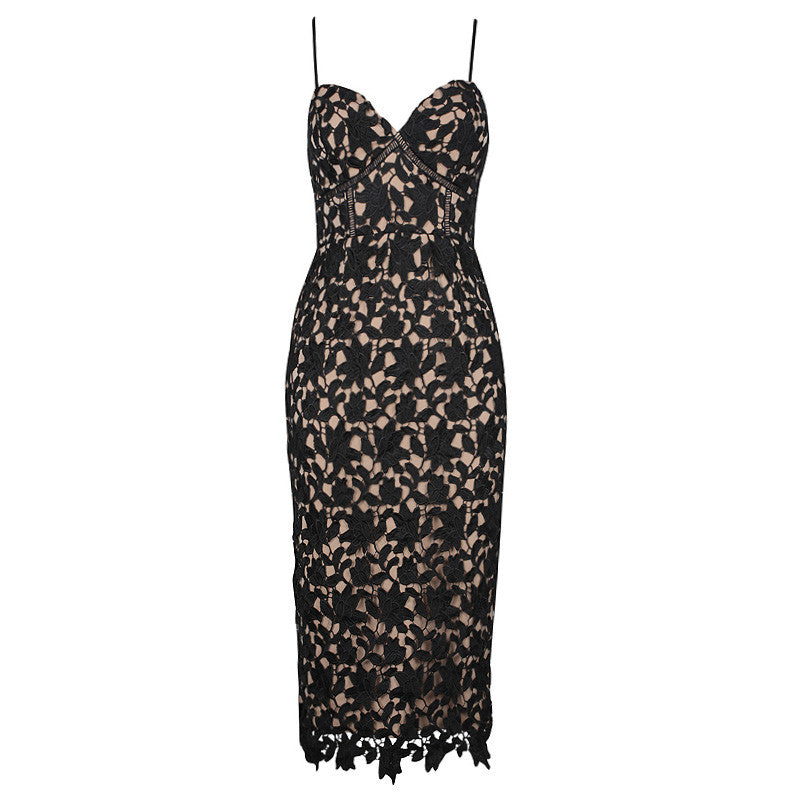 SOFIA LACE DRESS- BLACK/NUDE