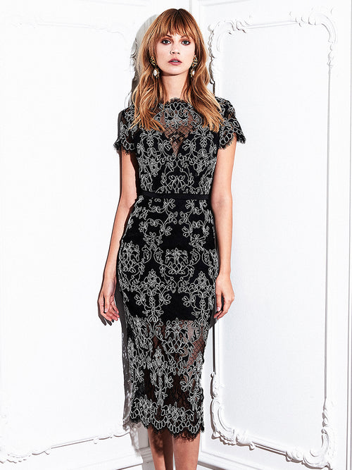 CARLI LACE DRESS - BLACK/IVORY CORD
