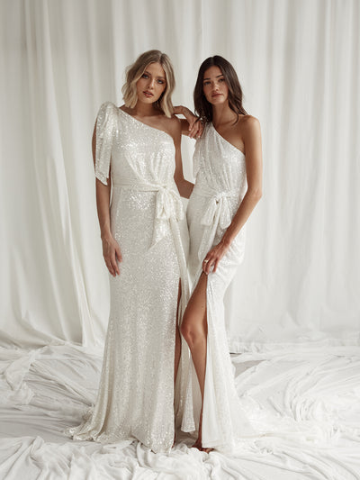 SCALA SEQUIN GOWN - IVORY