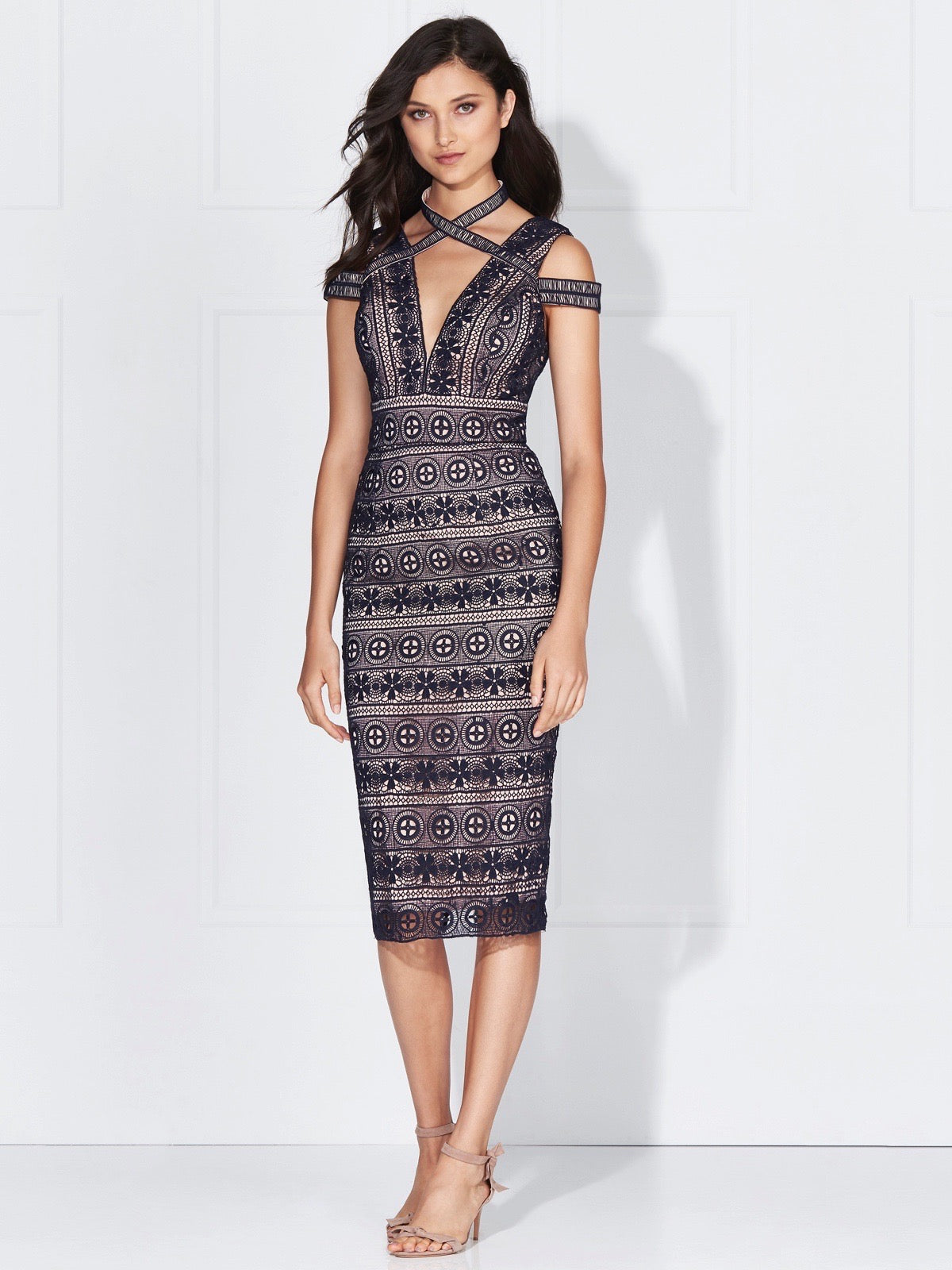 WILLOW LACE DRESS - FRENCH NAVY/NUDE