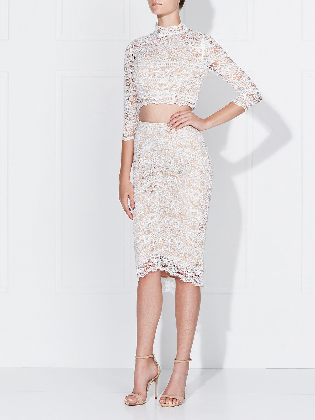 ROSE LACE SKIRT- IVORY/NUDE