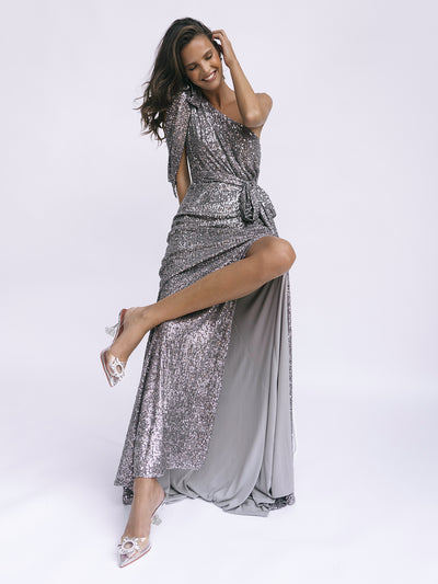SCALA SEQUIN GOWN - PEWTER